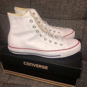 BRAND NEW White Leather Hi-top Converse
